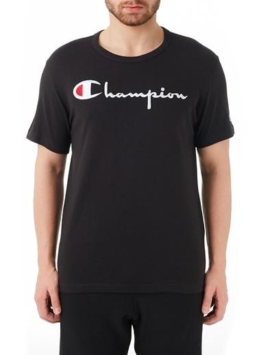 Champion  Regular Fit Baskılı Bisiklet Yaka % 100 Pamuk T Shirt Erkek T Shırt 210972 Nbk Kk001 Siyah